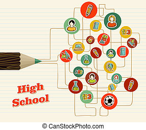 Back to School education network icons pencil over paper sheet background. Vector layered for easy editing.