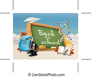 Back to school illustration on white and blue background