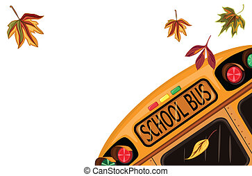 Back to School in September with school bus and autumn leaves. Isolated over white background. Vector file saved as EPS AI8, all elements layered and grouped.