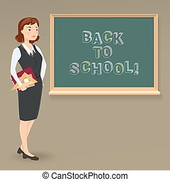 back to school message on blackboard and teacher with notebook. vector cartoon illustration