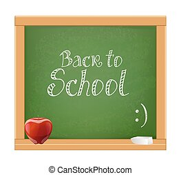 back to school message on wooden chalkboard with red apple and chalk. vector illustration