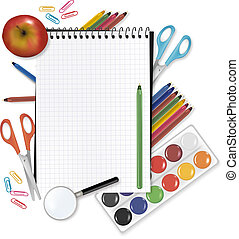 Back to school. Note with supplies