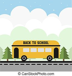 back to school pattern background with yellow shcool bus on the road