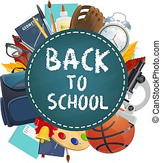 Back to school poster. Vector education stationery