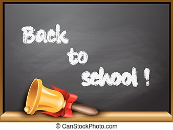 Back to school poster with golden bell