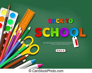 Back to school sale poster with realistic school supplies. Paper cut style letters on blackboard background, vector illustration.