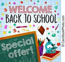 Back to school sale special offer poster design