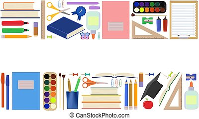 Back to school. Seamless border, advertising template with school supplies. Set of school stationery in flat cartoon style. Isolated on white background. Website design concept, teaching children