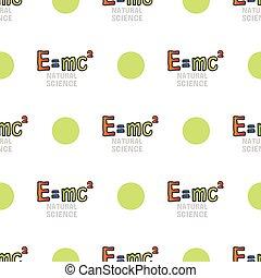 Back to school seamless pattern, vector tileble background on white. Natural sciences. Physics symbol, mass energy equivalence formula, e mc2