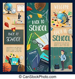 Back to School season vector banners