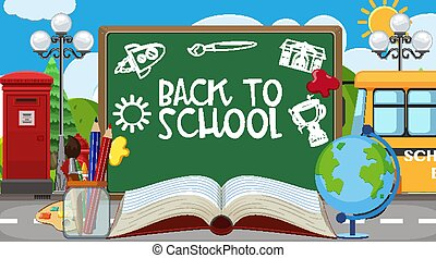 Back to school sign with many school items on the road background