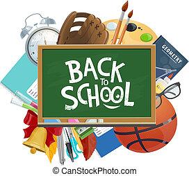 Back to School stationery on chalkboard poster