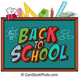 Back to school template with blackboard