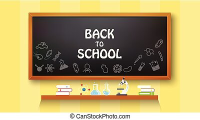 Back to school text drawing on with school items and elements, vector illustration