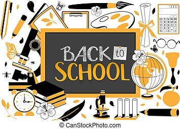 Back to school text on blackboard. Accessories for study
