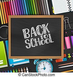 Back to school text on blackboard with wooden frame on a background with 3d realistic supplies for education. Vector illustration.