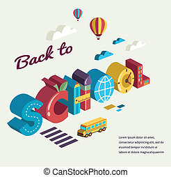 Back to school - text with icons. Vector concept