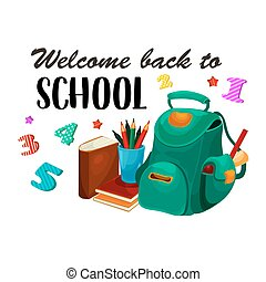 Back to School vector backpack stationery poster