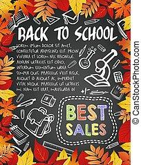 Back to School vector blackboard poster