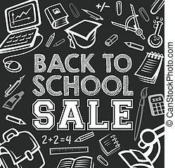 Back to School vector blackboard sale poster
