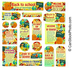 Back to School vector education banners posters