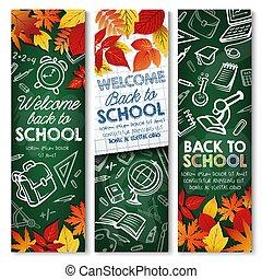 Back to School vector education chalkboard banners