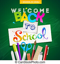 Back to school - vector illustration with stationery