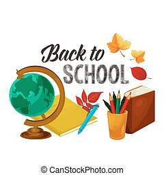 Back to School vector poster study stationery