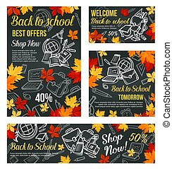 Back to School vector sale blackboard poster