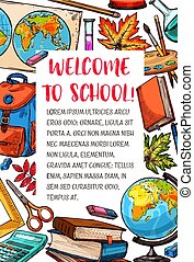 Back to School vector stationery sketch poster