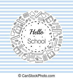 back to school with stationery item border on stripe background