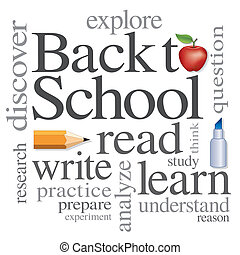 Back to school big red apple word cloud, read, write, learn. Isolated on white background. For education, literacy, scrapbook projects.