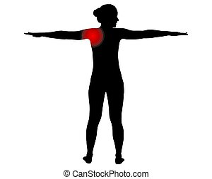 Back view of woman with with symbol for shoulder pain