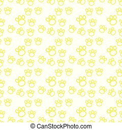 Backdrop with silhouettes of cat or dog footprint. yellow Vector illustration animal paw track pattern. Paw print seamless.