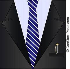 background fantasy: black suit with blue tie and pen