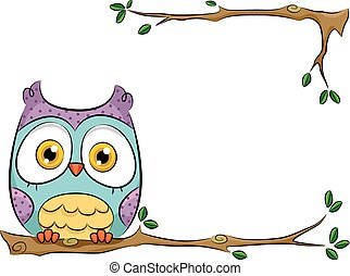 Background Illustration of a Cute and Colorful Owl Perched on a Branch