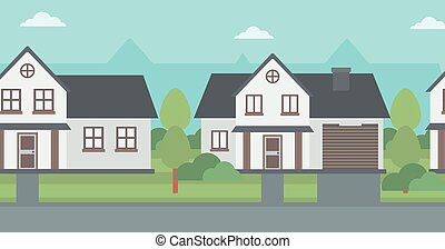 Background of suburban houses.