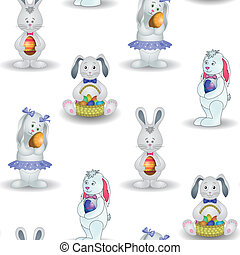 Background, rabbits with Easter egg