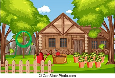 Background scene with wooden house in the woods