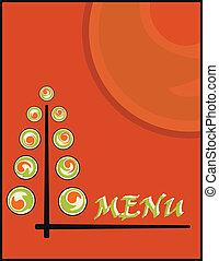 background sushi menu on new year or christmas
