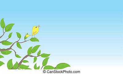 Background with bird on a tree