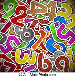 Background with colorful numbers of paper