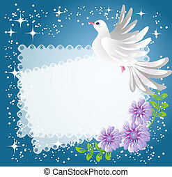 Background with dove and flowers