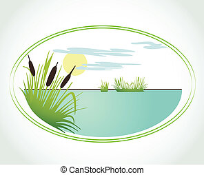 Background with lily and cane. Vector illustration