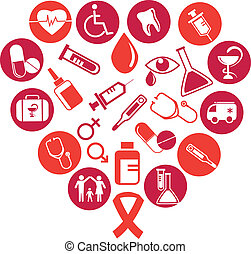 collection of vector medicine icons and elements