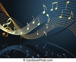 Background with music notes gold and blue