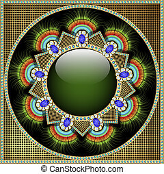 Background illustration with precious stones, pattern in the form of a glass circle