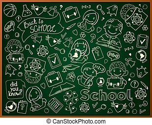 Background With School Blackboard