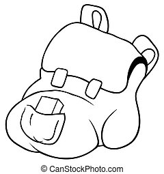Backpack - Black and White Cartoon Illustration, Vector