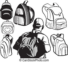 A collection of various bags and backpacks